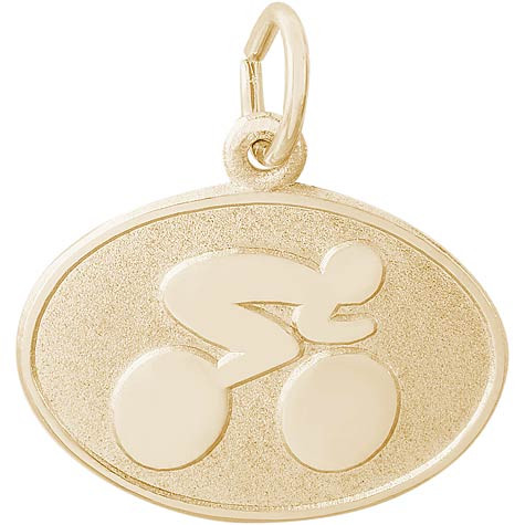 Gold Plated Cyclist Oval Disc Charm by Rembrandt Charms