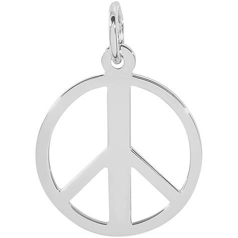 14K White Gold Peace Symbol Charm by Rembrandt Charms