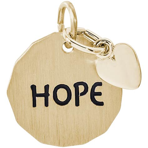 14K Gold Hope Charm Tag with Heart Accent by Rembrandt Charms