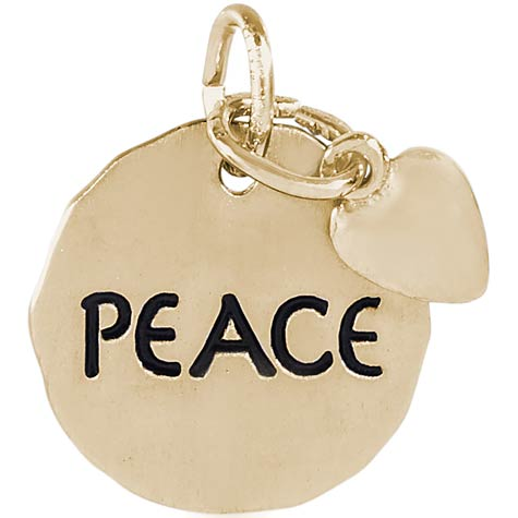 Gold Plated Peace Charm Tag with Heart by Rembrandt Charms