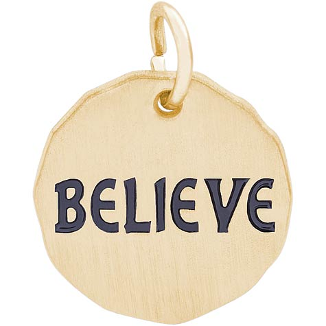 14K Gold Believe Charm Tag by Rembrandt Charms