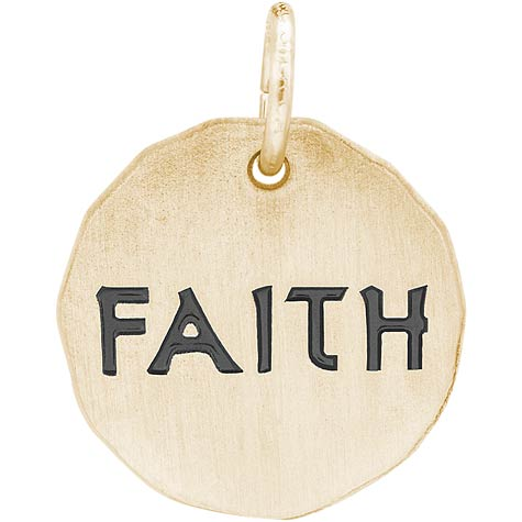 14K Gold Faith Charm Tag by Rembrandt Charms