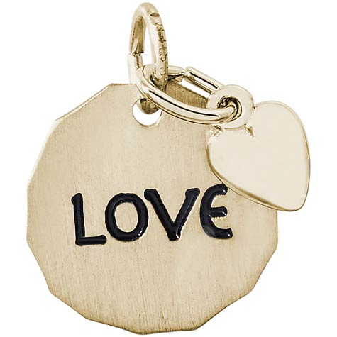 14K Gold Love Charm Tag with Heart Accent by Rembrandt Charms