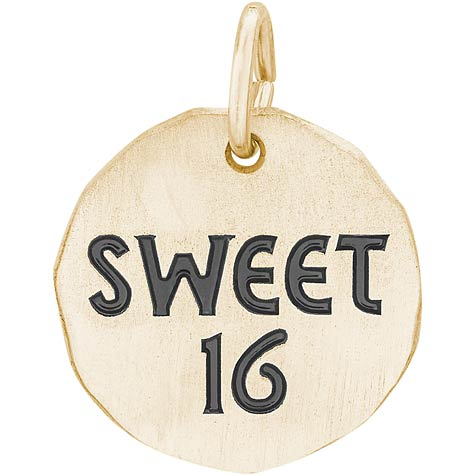 14K Gold Sweet Sixteen Charm Tag by Rembrandt Charms