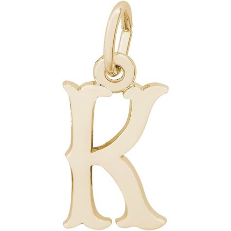 14K Gold Blackletter Initial K Charm by Rembrandt Charms