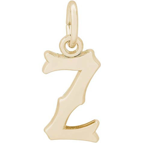 14K Gold Blackletter Initial Z Charm by Rembrandt Charms