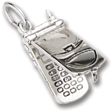 14K White Gold Cell Phone Charm flips open by Rembrandt Charms