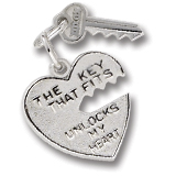 14K White Gold Key and Heart Charm by Rembrandt Charms