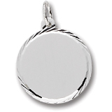 14K White Gold Medium Faceted Disc Charm by Rembrandt Charms
