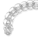 "14K White Gold Round Link 7"" Charm Bracelet by Rembrandt Charms"