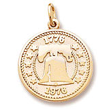 Gold Plated Liberty Bell Charm by Rembrandt Charms