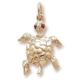 Gold Plated Turtle with Stones Charm by Rembrandt Charms