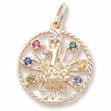 Gold Plate Peacock Charm Select 7 Stones by Rembrandt Charms