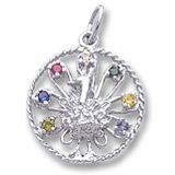 14K White Gold Peacock Charm Select 7 Stones by Rembrandt Charms