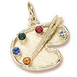 14K Gold Artist Palette, You Select 5 Birthstones