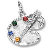 Sterling Silver Artist Palette, You Select 5 Birthstones