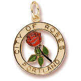 14K Gold Portland City of Roses Charm by Rembrandt Charms