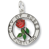 Sterling Silver Portland City of Roses Charm by Rembrandt Charms