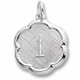 Sterling Silver Number One Scalloped Disc Charm by Rembrandt Charms