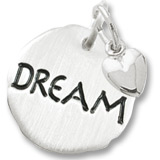 14K White Gold Dream Charm Tag with Heart by Rembrandt Charms