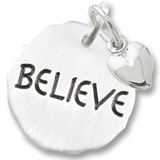 Sterling Silver Believe Charm Tag with Heart by Rembrandt Charms