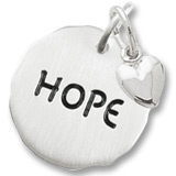 Sterling Silver Hope Charm Tag with Heart Accent by Rembrandt Charms