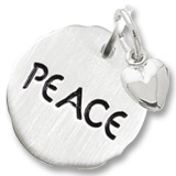 Sterling Silver Peace Charm Tag with Heart by Rembrandt Charms
