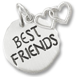 14K White Gold Best Friends Charm Tag & Hearts by Rembrandt Charms
