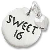 Sterling Silver Sweet 16 Charm Tag with Heart by Rembrandt Charms