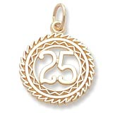 Gold Plate Number 25 Charm by Rembrandt Charms