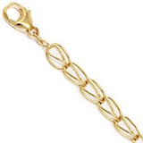 "14K Gold Fancy Link 7"" Charm Bracelet by Rembrandt Charms"