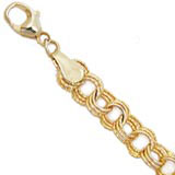 "10K Gold Triple Link 7"" Charm Bracelet by Rembrandt Charms"