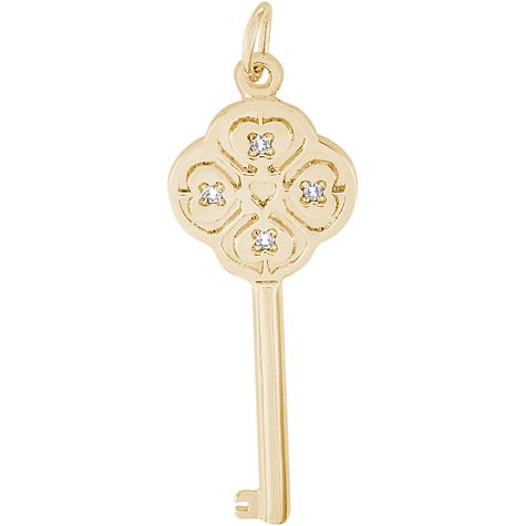Gold Plate Key to my Heart 04 April by Rembrandt Charms