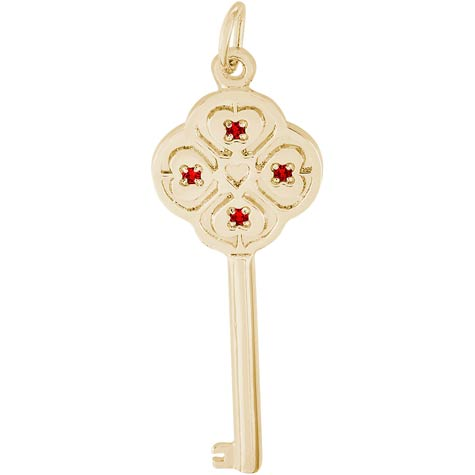 Gold Plated Key to my Heart 01 January by Rembrandt Charms