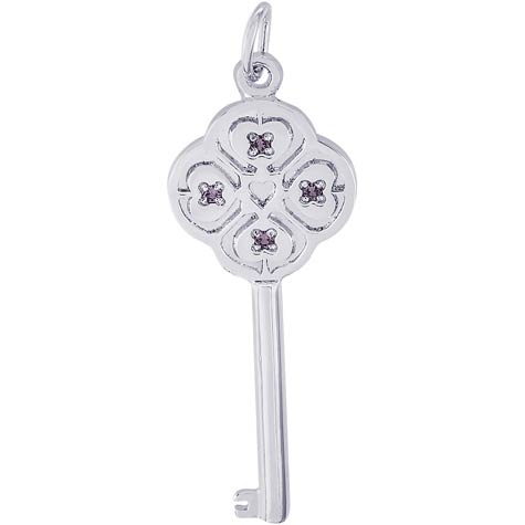 14K White Gold Key to my Heart 06 June by Rembrandt Charms