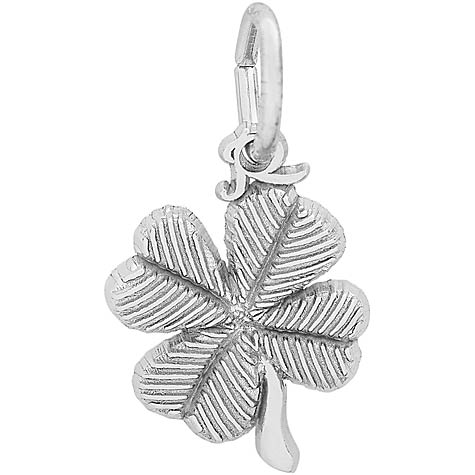 14K White Gold Four Leaf Clover Accent Charm by Rembrandt Charms
