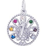 14k White Gold Peacock Bird Charm by Rembrandt Charms