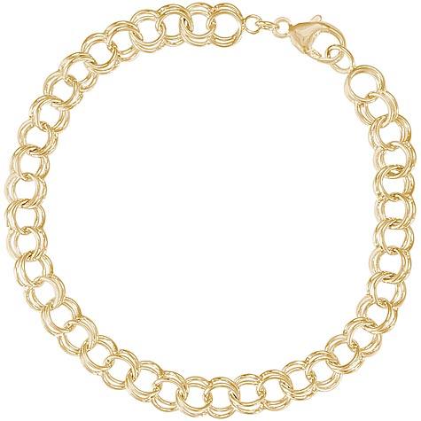 "14K Gold Charm Bracelet Medium Double Curb Links 7"""