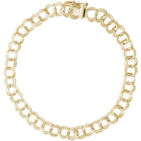 "14K Gold Charm Bracelet Medium Double Link 7"""