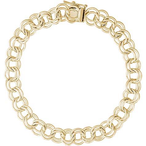 "14K Gold Charm Bracelet Large Double Link 7"""