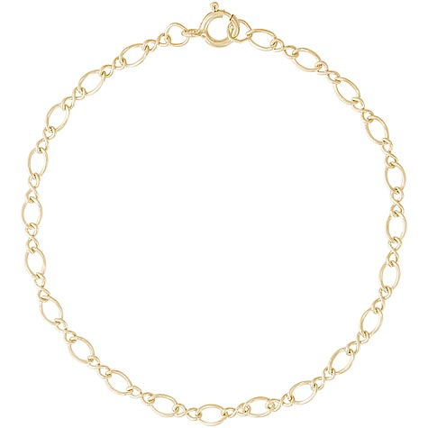 """Gold Plate Figure Eight 7"""" Charm Bracelet by Rembrandt Charms"""