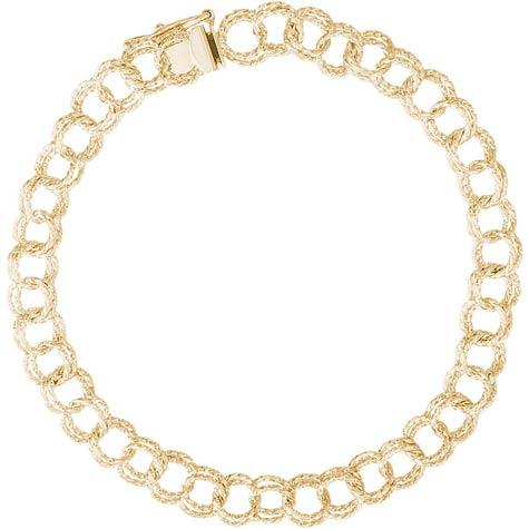 "14K Gold Double Twist 7"" Charm Bracelet by Rembrandt Charms"