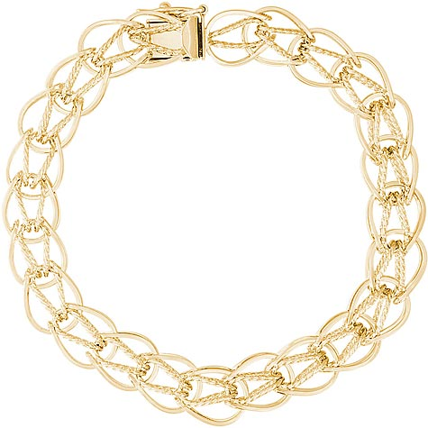 "14K Gold Oval Link 7"" Charm Bracelet by Rembrandt Charms"