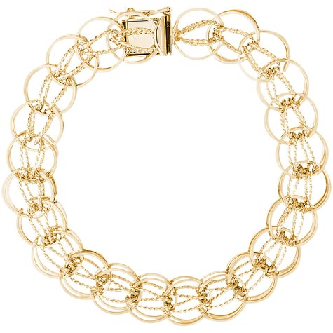 "14K Gold Round Link 7"" Charm Bracelet by Rembrandt Charms"