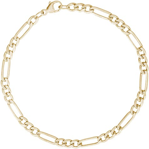 """14K Gold Small Figaro 7"""" Charm Bracelet by Rembrandt Charms"""
