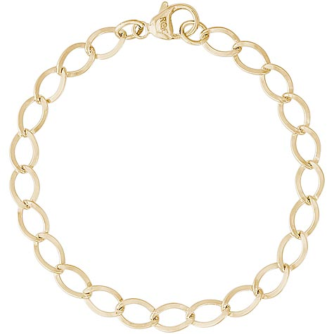 "14K Gold Curb Link 7"" Charm Bracelet by Rembrandt Charms"