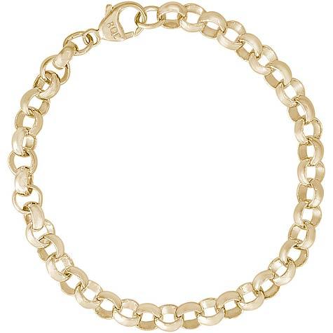 "14K Gold Rolo Link 7"" Charm Bracelet by Rembrandt Charms"
