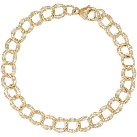"14k Gold Charm Bracelet - Double Dapped Curb Link 7"""