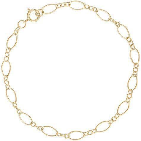 """14K Gold Open Figaro 7"""" Charm Bracelet by Rembrandt Charms"""