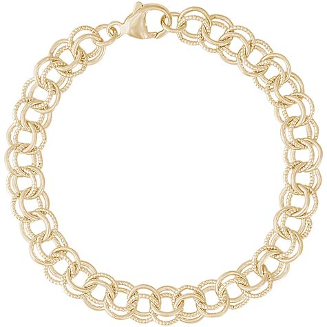 "14K Gold Twisted Link 7"" Charm Bracelet by Rembrandt Charms"